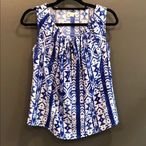 Tulle blue and white sleeveless blouse